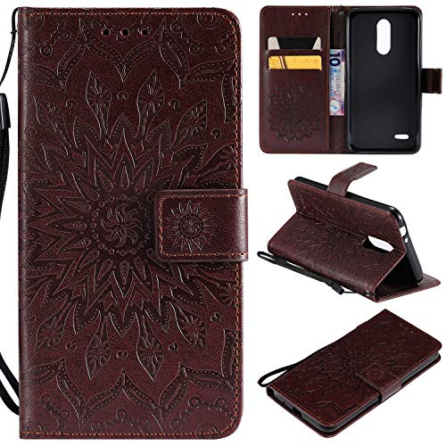Etui Cover BONROY Cuir Style Slots K10 LG European Case et 2018 Arbre du Housse Version d'impression de Carte Rose Etui à fleur Portefeuille Chat Rabat Support Or soleil marron aaXqrn