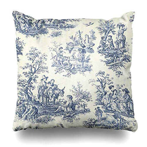 (InnoDIY Throw Pillow Covers Blue Vintage Toile Pillowslip Square Size 16 x 16 Inches Cushion Cases Pillowcases)