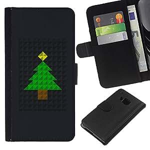 WINCASE ( NO PARA HTC ONE MINI M4) Cuadro Funda Voltear Cuero Ranura Tarjetas TPU Carcasas Protectora Cover Case Para HTC One M7 - árbol de Navidad polígono de metal negro