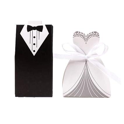 JZK® cajas de boda para bombones caramelos chocolate Con forma Novio Novia Color Negro con Blanco