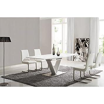 Table à manger design laque blanche BELCO01