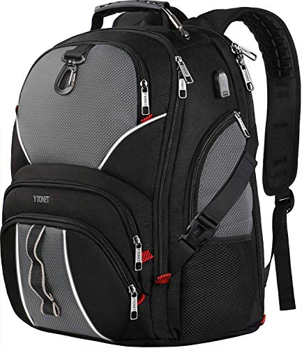 Travel Backpacks for Men, Extra Large Laptop backpack with USB Charging Port, 50L TSA Friendly Water Resistant Business College School Bookbags Fits 17 Inch Laptops with Luggage Sleeve - Black