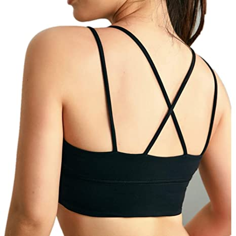 e4fcb6b05835c Aclth Padded Comfortable Running Jogging Women s Yoga Sports Bra Running  Gym Padded Removable Bra Pink Workout Bra for Exercise Fitness (Color    Black