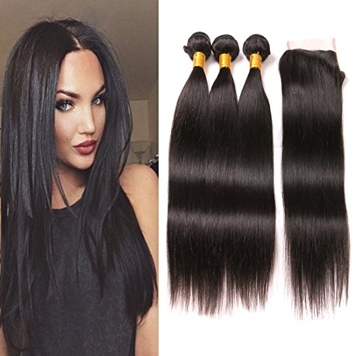 Four Day Sale Lace - 3 Brazilian Hair Bundles Straight with Closure Free Part 7A Unprocessed Virgin Human Hair Extensions Natural Medium Brown 4x4 Silk Lace Closures Short Hair 16 18 20 +14