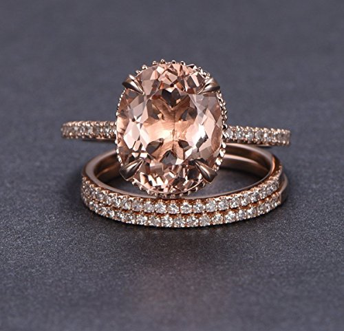 Oval Morganite Engagement Ring Trio Bridal Milgrain Under Gallery 14K Rose Gold 10x12mm by the Lord of Gem Rings