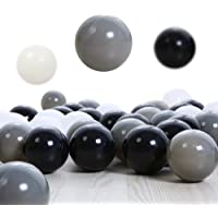 PlayMaty 100 Pieces Colorful Pit Balls Plastic Phthalate Free BPA Free Ocean Ball Crush Proof Stress Balls for Toddlers and Kids Playhouse Pool Ball Pit Accessories 2.1 Inches White Black Grey