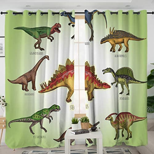 Sleepwish Dinosaur Window Curtain Panels Green White Ancient Animal Kids Boys Bedroom Decor Window Treatment 2 Panels, 52×96 Inch, Hook Top