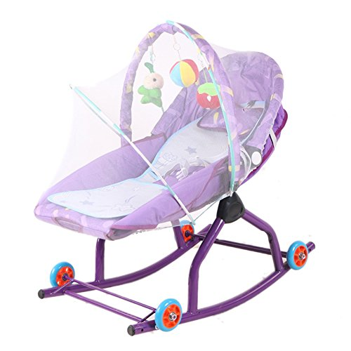 NMPA- Balance Bouncers Baby Rocking Chair Comfort Recliners Multi-function Cradle Bed Pushable with Wheels and Mosquito Net (Color : Purple(2))