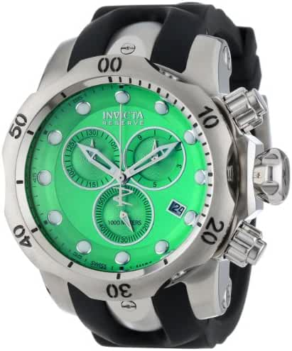 Invicta Men's 6105 Venom Reserve Chronograph Green Dial Black Polyurethane Watch