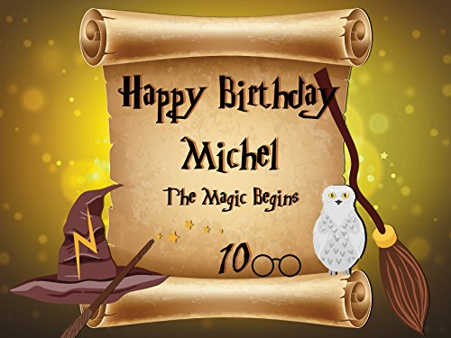 Custom Home Decor Wizard Theme Birthday Poster for Kids – Size 24×36, 48×24, 48×36; Personalized Magician Broom Stick Owl wizard hat Birthday Banner W…