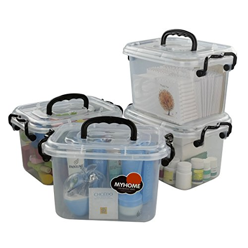 Ggbin 7 Quart Clear Latch Storage Box with Black Handle and Latches - 4 Pack (And Box Lid Storage Handle With)