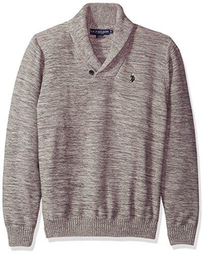 U.S. Polo Assn. Men's Reverse Jersey Shawl Collar Sweater, Snow MARL, Large by U.S. Polo Assn.