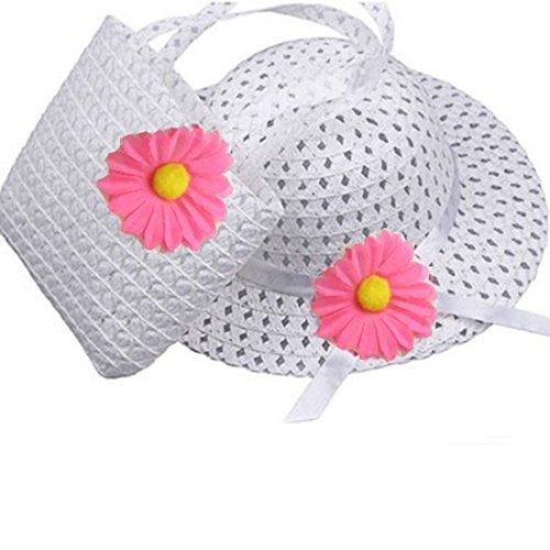 Flower Straw Sun Hat Beach Hat and Handbag Set White ()