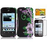 Huawei Inspira H867G / Prism 2 II U8686 / Glory H867G, LF Green Flower Designer Hard Case Cover, Lf Stylus Pen, Screen Protector and Wiper for (Straight Talk , Net10 , T-Mobil) (Green Flower)