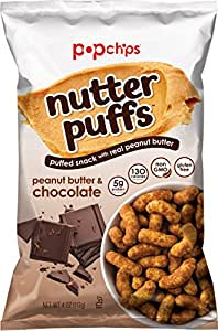 Popchips Nutter Puffs, Peanut Butter and Chocolate, 4 ounce, 12 Count