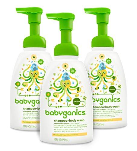 Shampoing pour bébé Babyganics + produit de lavage, camomille verveine, flacon de pompe 16 oz (Pack de 3)