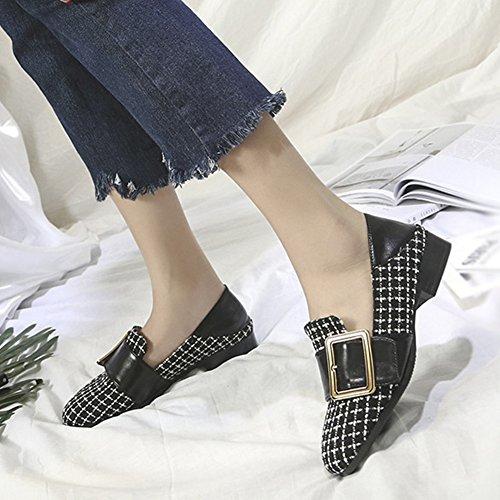 T-juli Dames Lage Hakken Loafers Schoenen Fashion Retro Classic Antislip Casual Schoenen Zwart