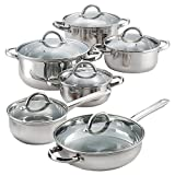 12 Piece Stainless Steel Cookware Set- Bottoms are flat and is rated for 3.0 mm thickness-Glass lids have a temperature max of 350 F-Cookware set is oven safe to 500 F*