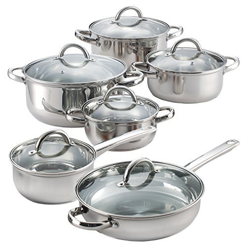 Bottom Flat Cookware (12 Piece Stainless Steel Cookware Set- Bottoms are flat and is rated for 3.0 mm thickness-Glass lids have a temperature max of 350 F-Cookware set is oven safe to 500 F*)