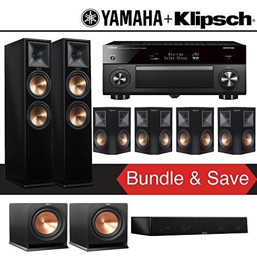 Klipsch RP-280F 7.2-Ch Reference Premiere Home Theater System (Piano Black) with Yamaha AVENTAGE RX-A2070BL 9.2-Channel Network A/V Receiver