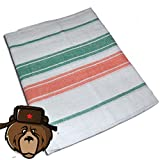 RussianBear Cotton Sheet for Russian Sauna Banya Bath House ''Green - orange'' (160-220 cm)