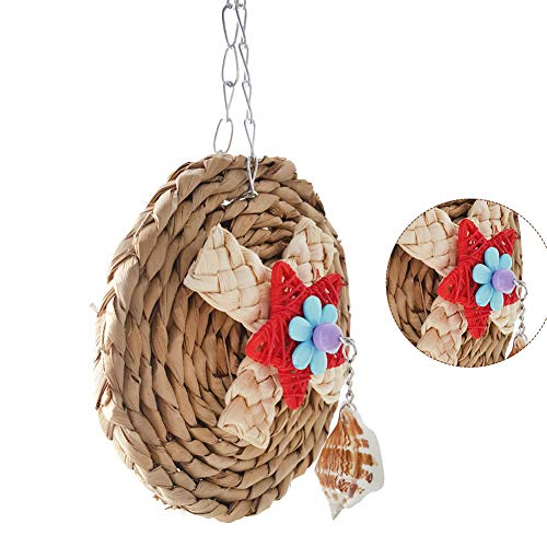 Newstrength Bird Chewing Toys,Corn Weaving Shell Dangle Pet Parrot Bird Cage Hanging Decor Round Chew Toy