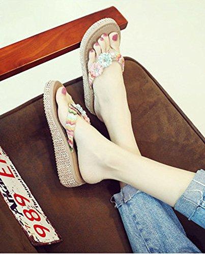 Zapatillas Moda muffin Flores 36 35 inferior Pellizco elegante antideslizante 5cm Ajunr Transpirable Sandalias rosadas B8CxFCd