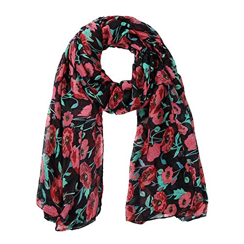 iTLOTL Women Scarf For Lightweight Flowers Pattern Fashion Fall Winter Scarves