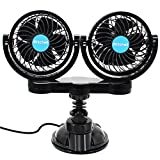 SySrion Dual Heads 12V Car Fan Suction Cup Vehicle Fan with 2 Speed Adjustable, 360 degreeRotatable Cooling Air Electric Fan-Quickly Blow Away Hot Air Smoke Smell Bad Odors for Sedan SUV RV Vehicle