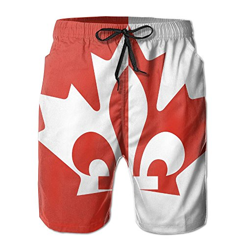 FayBrook Canada Flag with Quebec Men's Casual Shorts Swim Trunks Fit Performance Quick Dry (Canada Fit Shorts)