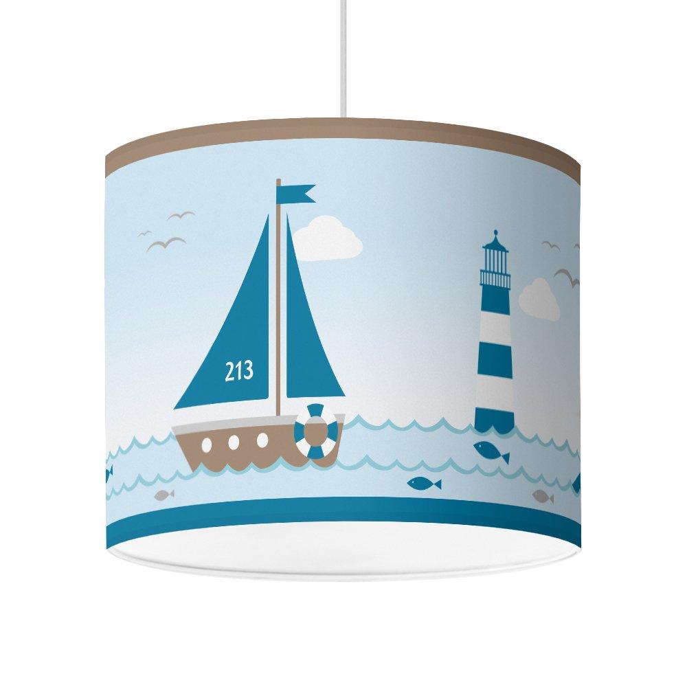 Lampenschirm für Jugendzimmer von Hapytaly - Maritimes Motiv für Baby- und Kinderlampen, Mädchen und Jungen – Ø16 cm - schöne Deckenleuchte, Hängeleuchte, Tischlampe oder Stehleuchte Hängeleuchte HAPYTALY®