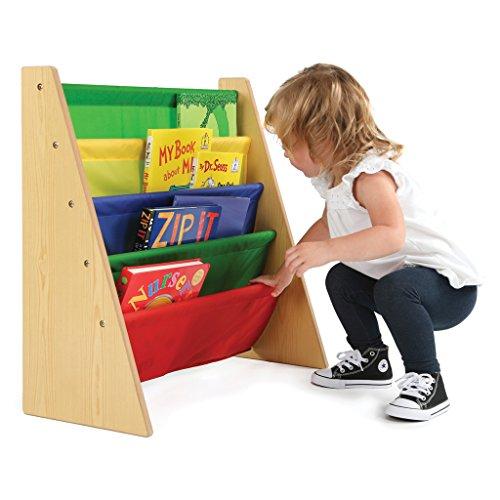 Tot Tutors Kids Book Rack Storage Bookshelf, Natural/Primary (Primary Collection)
