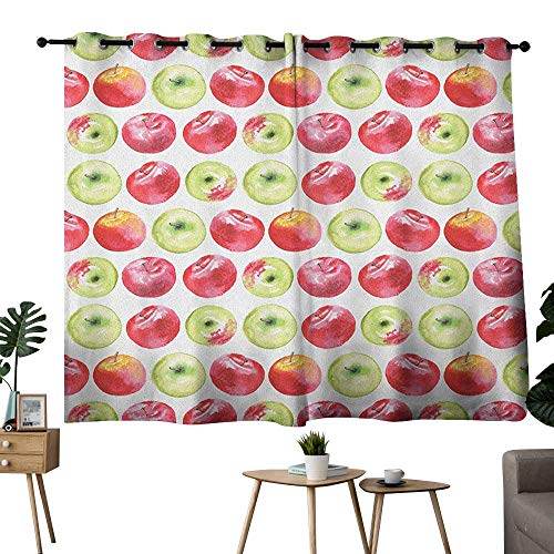 - bybyhome Apple Grommets Decor Darkening Curtains Watercolor Macoun Cameo and Granny Smith Drawing in Agricultural Yield Pattern Two Panels Apple Green Red W96 x L72