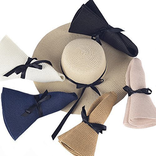 Womens Beach Hat Foldable Summer Cap Big Brim Straw Hat Travel Bowknot Floppy Sun Hat Beige by RMR Store (Image #2)