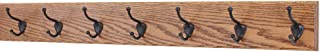 """product image for Oak Wall Mounted Coat Rack with Bronze Hooks 4.5"""" Ultra Wide (Chestnut, 36"""" x 4.5"""" with 7 Hooks)"""