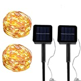 BRAVESHINE Solar String Lights, 2 Pack 8 Lighting Modes Starry Copper Wire Fairy Lights for Christmas Wedding Holiday Party or Bedroom, Patio, Garden Indoor Outdoor Decor - Warm White (40FT 100 LED)