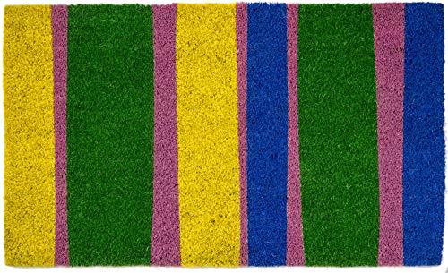 KensingtonRow Home Collection Door MATS - Color Spectrum Striped Coir Doormat - 17