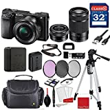 Sony Alpha a6000 Mirrorless Digital Camera (Black) with Sony 16-50mm f/3.5-5.6 OSS Lens (Black) and Sony E 55-210mm f/4.5-6.3 OSS Lens (Black) + Professional Accessory Bundle