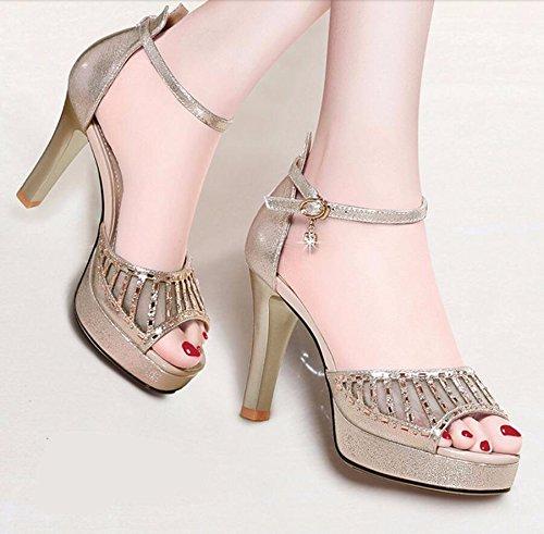 Dedos AJUNR 9cm Cinturón Zapatos Golden Transpirable Verano Roma de Sandalias Moda Talón Tacones de los pies de Elegante Wild los Zapatos rwPqrZXn8