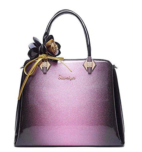Designer Women Top Handle Tote Patent Leather Flower Pattern Casual Office Bag, Purple Purple