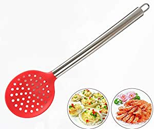 AKOAK Kitchen Silicone Skimmer Slotted Spoon with Stainless Steel Handle for Home or Professional Use (Red)