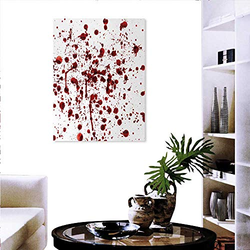 Anniutwo Horror everlands Art Flower Canvas Print Art Wall Deco Splashes of Blood Grunge Style Bloodstain Horror Scary Zombie Halloween Themed Print Wall Hole Sticker 32