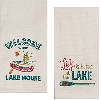 Kay Dee Designs Lake House Embroidered Kitchen Towels Set   Hand Towels  With Boats And Paddles