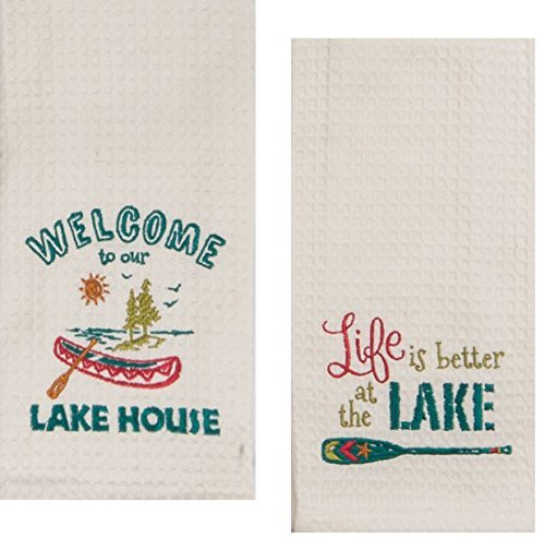 Kay Dee Designs Lake House Embroidered Kitchen Towels Set - Hand Towels with Boats and Paddles, Outdoor Camping Boating Dish Cloths by Kay Dee