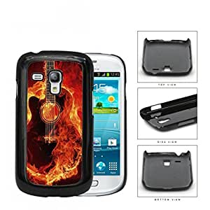 Acoustic Guitar Burning With Fire Flames Hard Plastic Snap On Cell Phone Case Samsung Galaxy S3 SIII Mini I8200