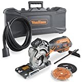 VonHaus Ultra-Compact Circular Saw 5.8 Amp with Laser Indicator + Plunge Function + 3 Blade kit + with carry case + Extra Long Power Cable + Extra long Extraction Hose + Edge Guide