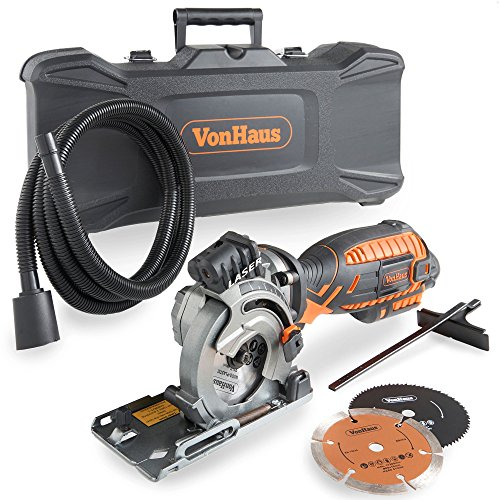 VonHaus Corded Ultra-Compact Circular Saw Kit 5.8 Amp with Laser Indicator, Edge Guide and Plunge Function - 3 Blade Kit with Carry Storage Case Including Extra Long Power Cable and Extraction Hose - Edge Saw