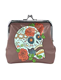 Vipsk mom gift ideas Gothic Rose and Skull PU Leather Wallet Card Holder Coin Purse Clutch Handbag