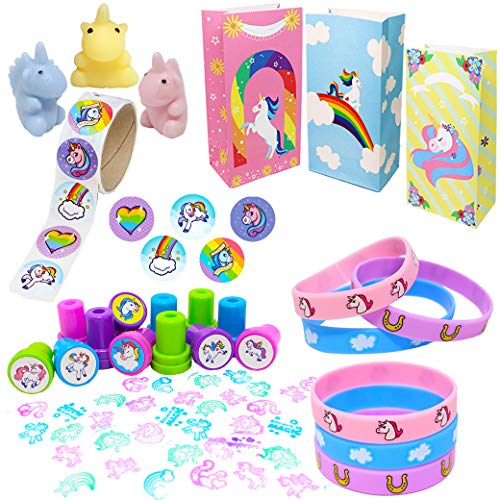 Stamp for Birthday Party Decorations JOYIN Unicorn Party Favors Supplies Set of 144 Includes Headbands Goodie Bags Cupcake Toppers and Wrappers Sticker Necklace Tattoos Keychain Bracelet
