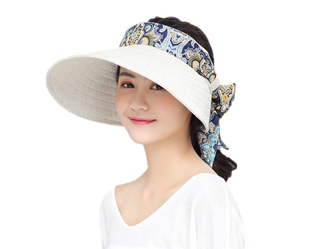 JIAHG Women Summer Beach Sun Hat Wide Brim Visor Caps Women Folable Floppy  Floral Empty Top Cap Adjustable Trucker Bucket Hat Summer Cotton Breathable  ... 9bd4c80d65c